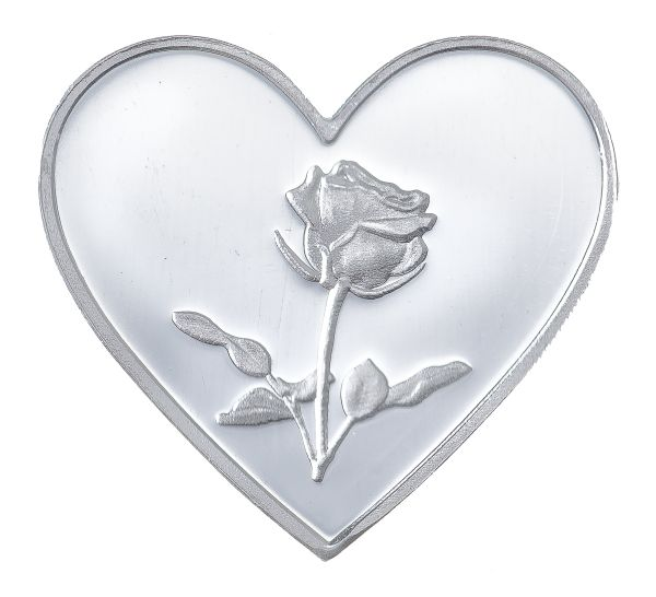 Silver Hearts Bar 1 Gram Silver Hearts And Roses Bar