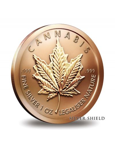 1 Oz Copper Cannabis Round - Silver Shield Collection