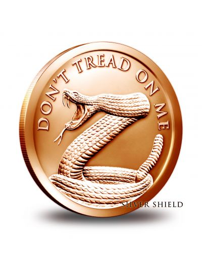 1 Oz Copper Don't Tread On Me Round - Silver Shield Collection