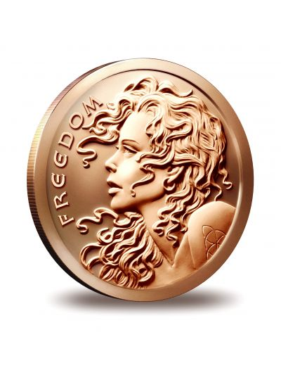 1 Oz Copper Freedom Girl Round - Silver Shield Collection - 2014