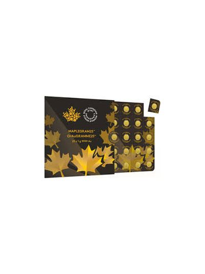 25x1 Gram Gold Canadian Maple Leaf .9999 Fine Gold | Maplegram25
